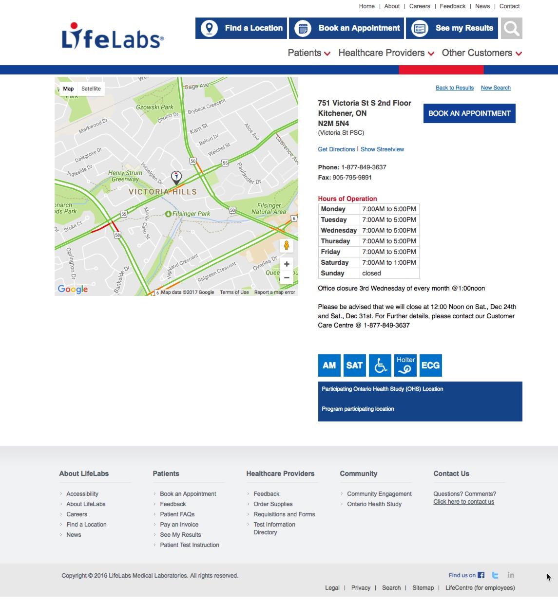 Lifelabs Victoria St Kitchener
